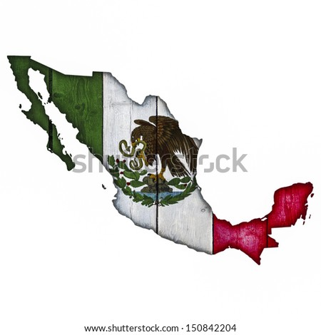 Mexico Map And Flag On Wood - stock photo