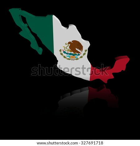 Mexico map flag with reflection illustration - stock photo