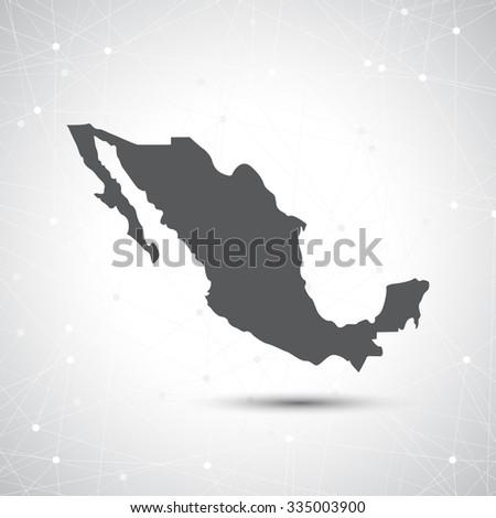 Mexico map illustration. - stock photo