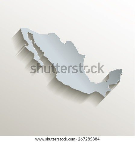 Mexico map white blue card paper 3D raster - stock photo