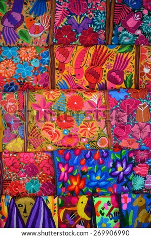 """Mexico, Merida - March 26th, 2014: """"Oaxaca in Merida"""" - Food and Handcrafts Event. Traditional handmade mexican fabric - stock photo"""