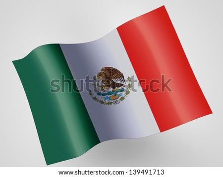 Mexico. Mexican flag on wavy plastic flag