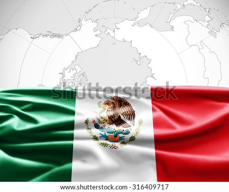 Mexico  of silk with copyspace for your text or images and world map, background