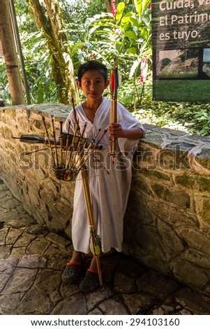 Mexico, Palenque- MARCH 29, 2015: Children selling souvenirs. Mexico, Palenque - stock photo