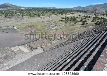 Mexico pyramids. Arial view of Teotihuacan site from the to of the Sun pyramid in Teotihuacan, Mexico. - stock photo
