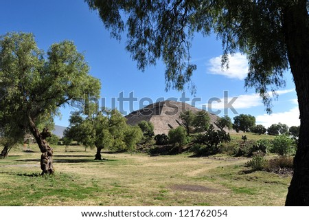 Mexico pyramids.Pyramid of Sun in Teotihuacan, Mexico. It is the largest pyramid building in Teotihuacan and one of the largest pyramids in Mesoamerica. - stock photo