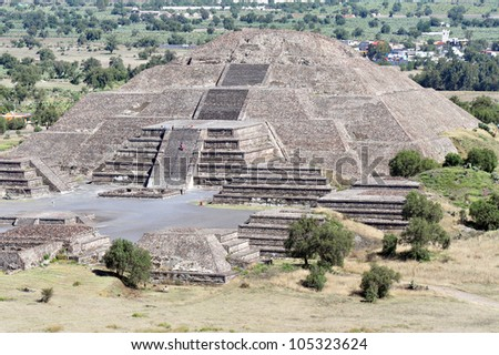 Mexico pyramids. The moon pyramid in the Pyramids of Teotihuacan site, Mexico. - stock photo