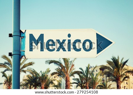 Mexico Road Sign - stock photo