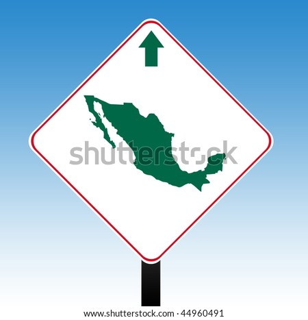Mexico road sign in colors of flag with directional arrow, blue sky background. - stock photo