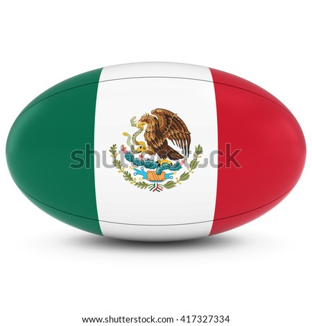 Mexico Rugby - Mexican Flag on Rugby Ball on White - 3D Illustration