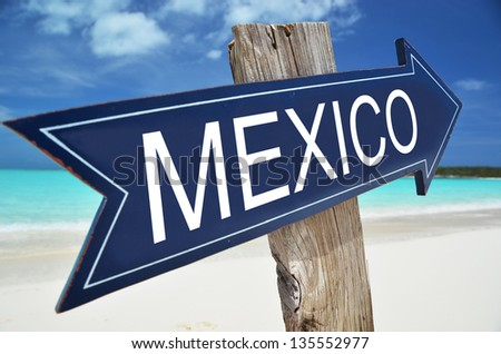 MEXICO sign on the beach