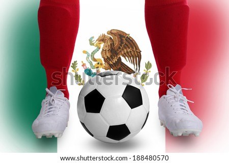 Mexico soccer player with football for competition in Match game.