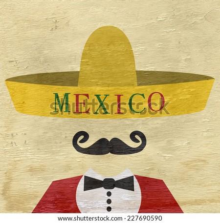 mexico sombrero design on wood grain texture - stock photo