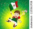 Mexico Sport Fan with Flag and Horn - stock photo