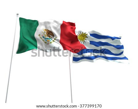 Mexico & Uruguay Flags are waving on the isolated white background