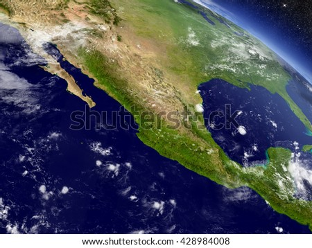 Mexico with surrounding region as seen from Earth's orbit in space. 3D illustration with highly detailed planet surface and clouds in the atmosphere. Elements of this image furnished by NASA. - stock photo