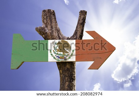Mexico wooden sign on a beautiful day - stock photo