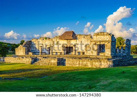 Mexico, Yucatan, Tulum, Mayan ruins, sunset - stock photo