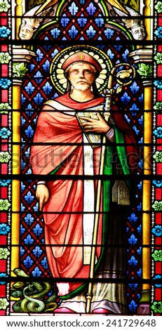 MEZE, FRANCE July 23, 2014: Scene of the Bible. Stained glass window in the Cathedral of Meze, South of France - stock photo