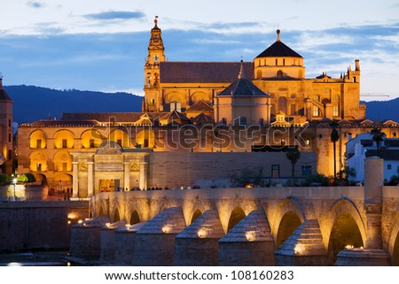 Mezquita Cathedral (The Great Mosque) illuminated at dusk in Cordoba, Andalusia, Spain.