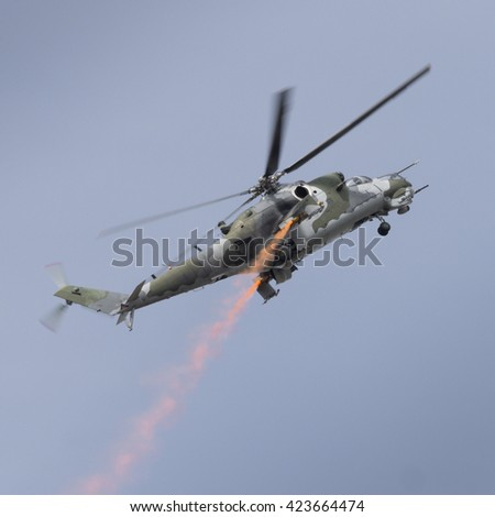 Mi-24 Hind helicopter in flight - stock photo