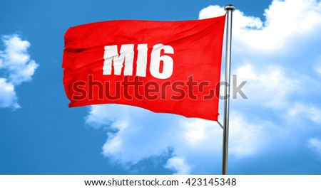 mi6 secret service, 3D rendering, a red waving flag - stock photo