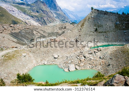 Miage lake from above - stock photo