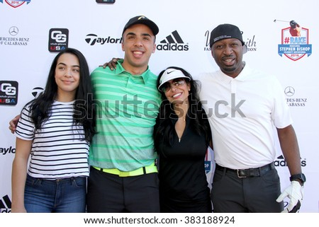Miah Kidd, Trey Jason Kidd, Joumana Kidd and Ricky Smith  arrive at the inaugural Stephen Bishop celebrity golf invitational for R.A.K.E. on Feb. 15, 2016 at Calabasas Country Club in Calabasas, CA. - stock photo