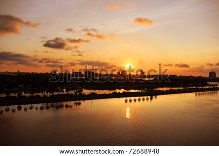 Miami at daybreak with view of canals