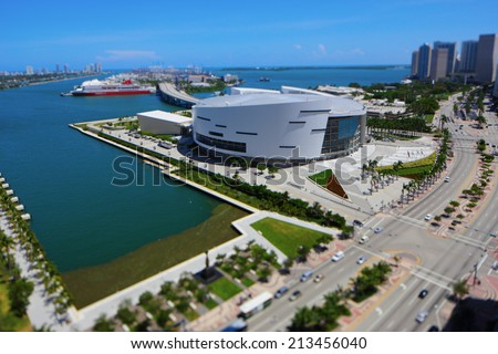 MIAMI - AUGUST 27: Aerial image of the American Airlines Arena at Downtown Miami August 27, 2014 in Miami USA. AA Arena is home to the Miami Heat Basketball team.  - stock photo