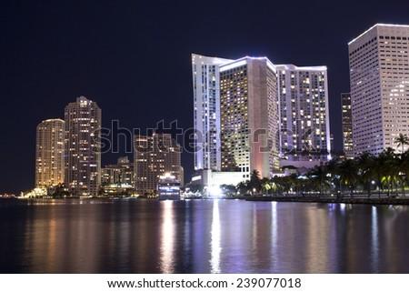 Miami bay-side marina illuminated at night. Florida, USA  - stock photo