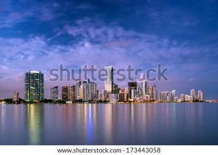 miami bayfront cityscape skyline at dusk, winter 2014 - stock photo