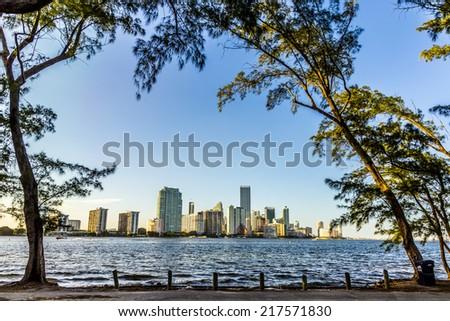 miami bayfront cityscape skyline from Key Biscane - stock photo