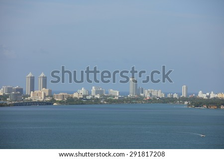 Miami Beach and Biscayne Bay telephoto shot - stock photo