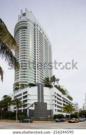 MIAMI BEACH - FEBRUARY 26: Photo of the Fontainebleau Hotel Miami Beach located at 4441 Collins Avenue February 26, 2015 in Miami Beach Florida - stock photo