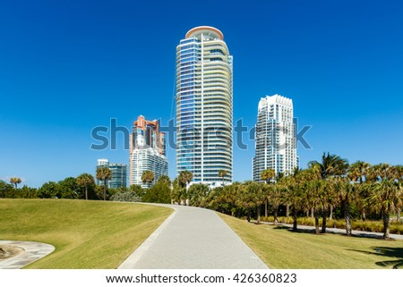 Miami Beach, FL USA - February 25, 2016: Beautiful Miami Beach cityscape along South Pointe Park with luxury condos.