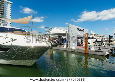 Miami Beach, Fl USA - February 13, 2016: The popular Miami International Boat Show features more than 3,000 boats and 2,000 exhibitors from all over the world.