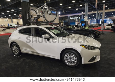 MIAMI BEACH, FL, USA - NOVEMBER 6, 2015:  Mazda CX-3 on display during the 2015 Miami International Auto Show at the Miami Beach Convention Center in downtown Miami Beach.