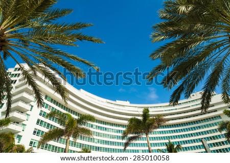 Miami Beach, FL USA - October 3, 2012: The historic art deco architecture of the Fontainebleau Hotel on Miami Beach. - stock photo