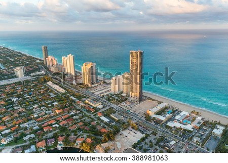 Miami Beach, Florida. Amazing sunset view from helicopter.