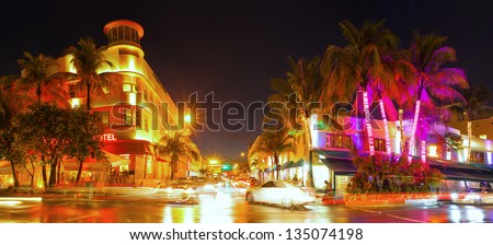 Miami Beach Florida, colorful night summer scene on Ocean Drive Art Deco District - stock photo