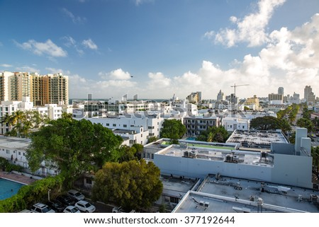 Miami Beach, Florida - December 28, 2015: Aerial view  over South Miami Beach, Florida.