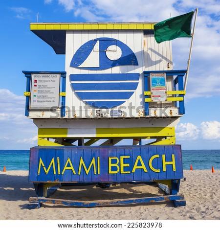 Miami Beach Florida, famous lifeguard house. - stock photo