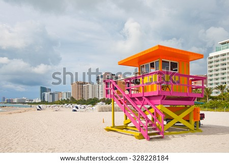 Miami Beach Florida, lifeguard house in typical art deco colorful style