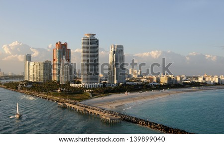 Miami Beach, Florida Southernmost area seen from the ocean