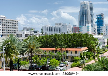 Miami Beach, Florida, US - May 17, 2015 - South Miami beach view