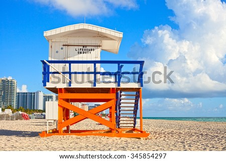 Miami Beach Florida, USA famous tropical travel location, typical Art Deco lifeguard house on a beautiful summer morning with ocean and blue sky