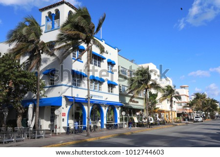 MIAMI BEACH, FLORIDA/USA - JANUARY 7, 2018:  Miami Beach, Florida is a popular vacation destination that is known for its art deco architecture.