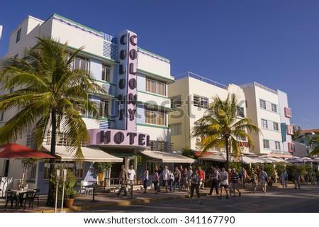 MIAMI BEACH, FLORIDA, USA - MAY 2004: Art Deco Colony Hotel on Ocean Drive, South Beach. - stock photo