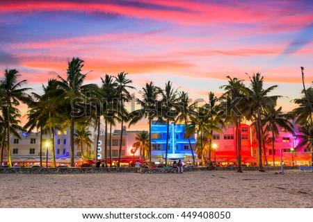 Miami Beach, Florida, USA on Ocean Drive at sunset. - stock photo
